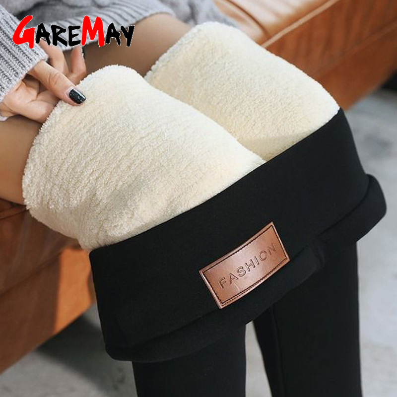Black warm pants winter skinny thick velvet wool fleece girls leggings women Trousers Lambskin Cashmere Pants For Women leggings title=
