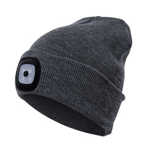 Hat Flashlight Fishing-Cap Hiking Outdoor Camping Warm Winter Unisex for Lamp Kintted