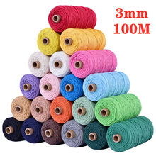 цена на 3mm x 100M Cotton Cord Colorful Rope Thread Twisted Macrame String DIY Handmade Home Wedding Textile Decorative Supply Wrapping