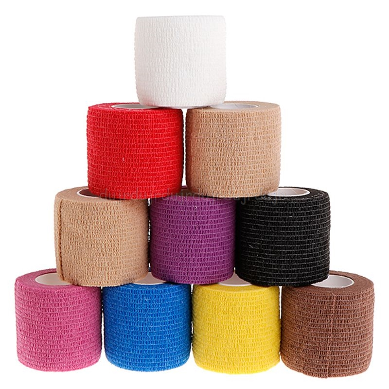 10pcs 5cm Disposable Tattoo Self-adhesive Elastic Grip Bandage Wrap Sport Tape N15 19 Dropship