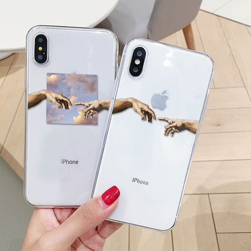 Mona Lisa Art David lines Painted Pattern Case For iPhone 11 XS MAX XR 6 6s 5s se 7 8 Plus Transparent TPU Phone Cover Coque