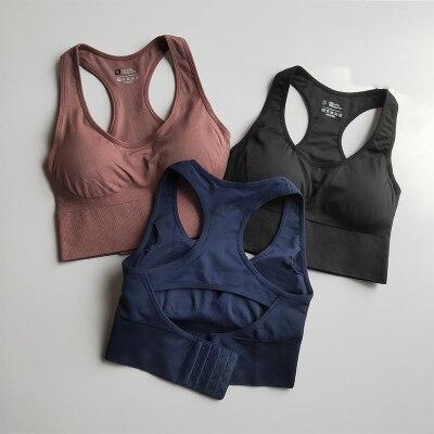 Women Shockproof Padded Athletic Gym Running Seamless Fitness Yoga Vest Sport Bra Tops