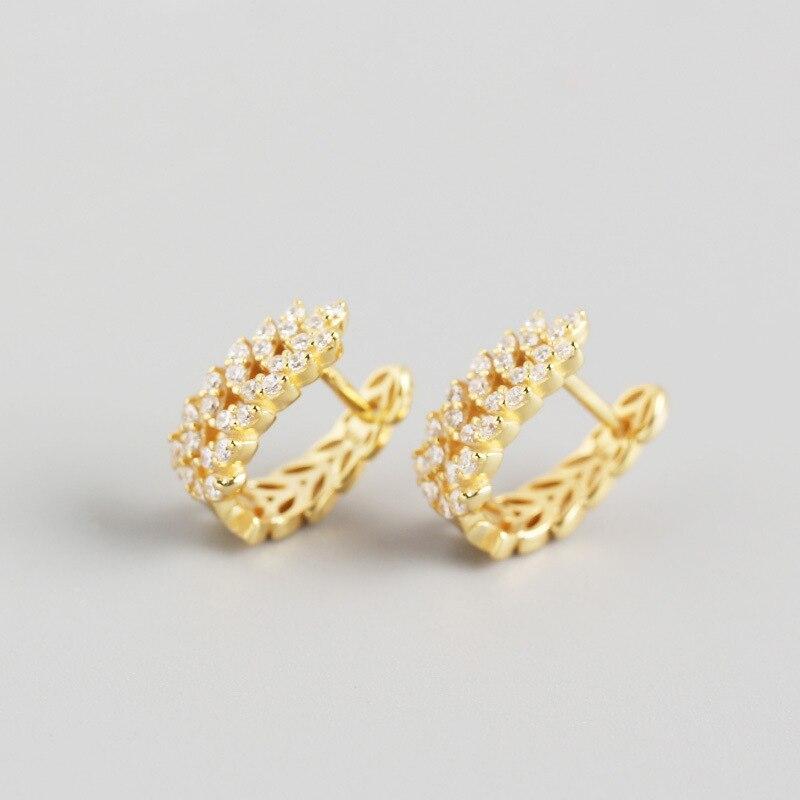 ANENJERY 925 en argent Sterling feuilles boucles d'oreilles pour les femmes français exquis élégant oreille bijoux S-E1377 4