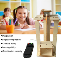 DIY Wood Assemble Simulate Science Experiment Electric Elevator Lift Model Kit Teaching Tools for Kids Children Innovation Gifts
