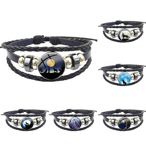 Moon Wolf For Valentine'S Day Gift Famous Brand Jewelry With Glass Cabochon Black Leather Bracelet Bangle