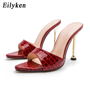 Eilyken Women slippers Snake Print Strappy Mule high heels Slippers Sandals flip flops Pointed toe Slides Party shoes Woman 10