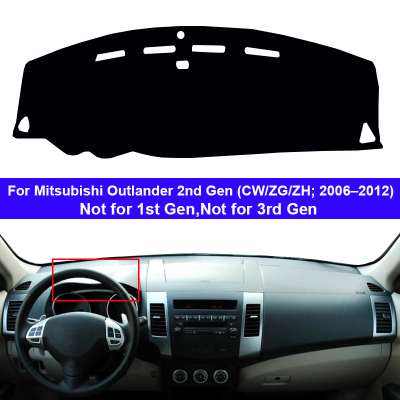 Car Dashboard Cover Dash Mat Carpet Rug For For Mitsubishi Outlander 2nd Gen CW/ZG/ZH 2006 – 2012 2 Layers Sunshade Auto Cape