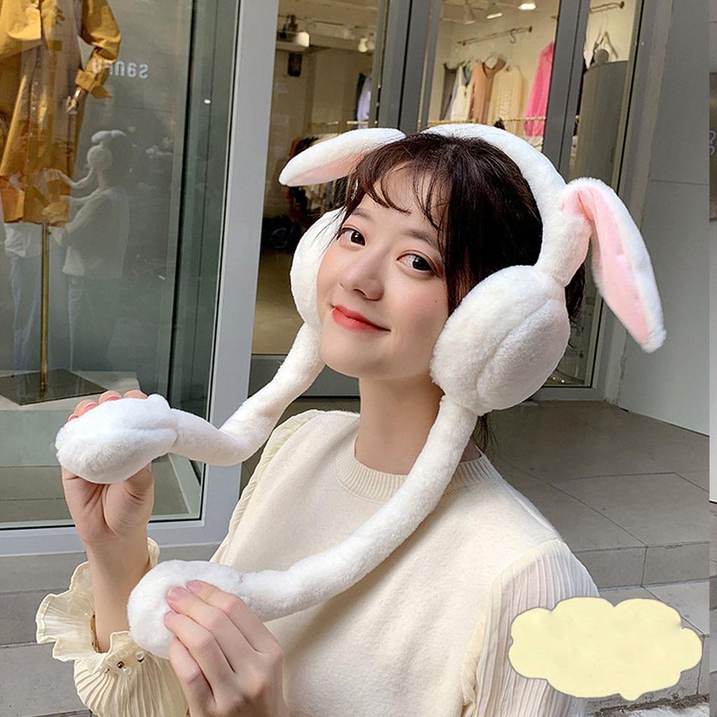 Cute Women Earmuffs Warm Can Move Magnet Cap Plush Dance Rabbit Ear  Muffs Earlap Glitter Sequin Earmuffs Headband Newest