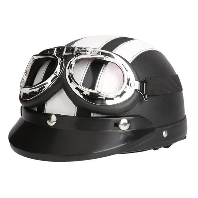 Vintage, Open Face, Retro Motorcycle Helmet With Goggles For Men Or Women