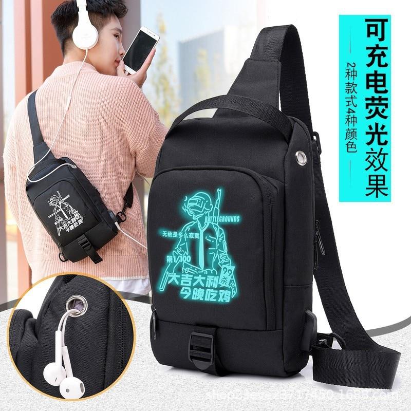 Chicken Celebrity Style Men Chest Pack Cool Night Light Backpack Fashion USB Charging Music Kids Shoulder Oblique Bag