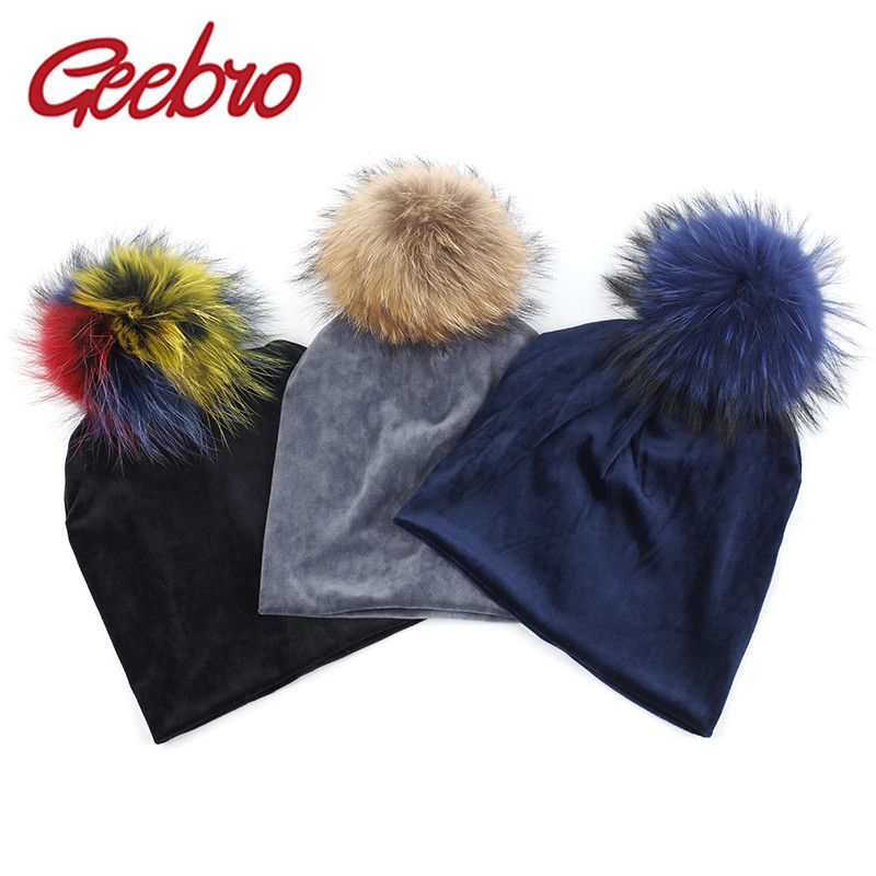Geebro Women's Velour Beanie Hat 15cm Raccoon Fur Pompom Winter Polyester Soft Warm Slouchy Beanie For Women Ladies Velvet Hats