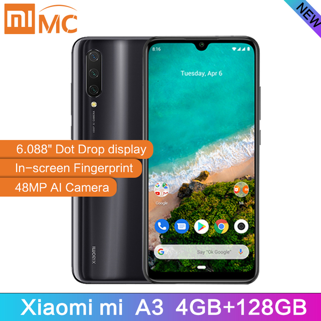 "Global Version Xiaomi Mi A3 4GB 128GB Smartphone 6.088"" AMOLED Snapdragon 665 Octa Core In screen Fingerprint 4030mAh Cellphone"