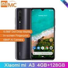 "Versão global xiao mi a3 4 gb 128 gb smartphone 6.088 ""amoled snapdragon 665 octa núcleo na tela impressão digital 4030 mah celular"