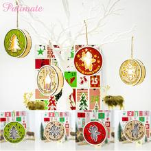PATIMATE 2019 Christmas Round Wooden Light Pendant Tree Decoration Merry For Home Navidad Gifts