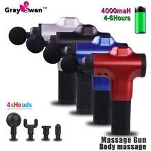 GraySwan masaż pistolet masażer mięśni ból mięśni masaż ciała relaks odchudzanie kształtowanie ulga w bólu 6 głów z torbą