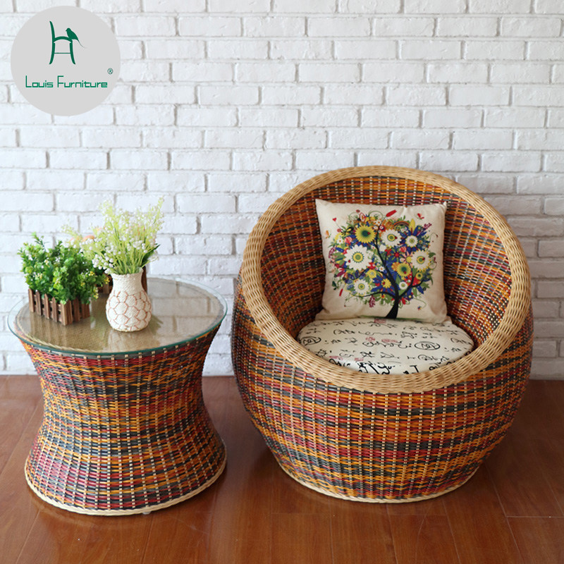 Louis Fashion Garden Chairs Three piece balcony table hand rattan chair garden leisure five piece combination household