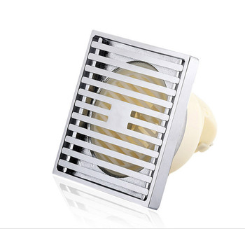 Floor drain Fine copper floor drain thickened wiredrawing large displacement stainless steel deodorant 75/180 tube 20*20cm
