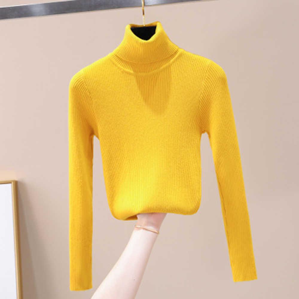 2020 가을 겨울 여성 니트 터틀넥 스웨터 소프트 폴로 넥 점퍼 패션 슬림 Femme 신축성 풀오버
