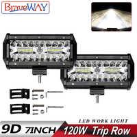 BraveWay LED Bar 7 zoll 120W LED Licht Bar 3 Reihe Arbeit Licht Combo Strahl für Fahren Offroad Boot auto Traktor Lkw 4x4 SUV 12V 24V