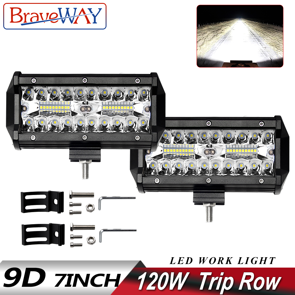 BraveWay 3 Rows LED Work Light Bar for Offroad 4x4 Atv SUV Uaz Boat Combo Beam 12V 24V Jeep LAND ROVER Ford