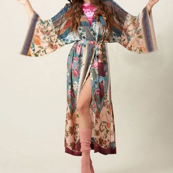 Women Beach Swimsuit Cover Up Boho Floral Printed Open Front Kimono Cardigan Long Sleeves Belted Wrap Front Side Split Maxi Robe