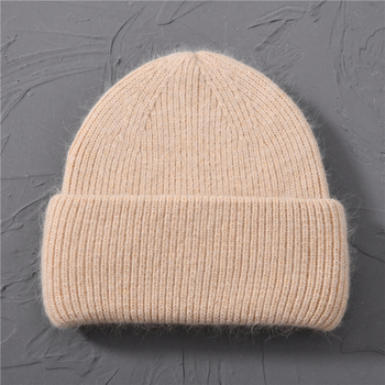 Casual Women's Hats Cashmere Wool Knitted Beanies Autumn Winter Brand New Three Fold Thick 2020 Knitted Girls Skullies Beanies 9