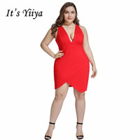 It's Yiiya Cocktail Dress V neck Irregular Hems Women Party Night Robe Cocktail Dresses Plus Size Red Semi Formal Dresses C439