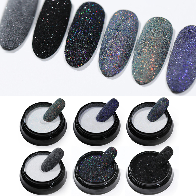 Black Nail Powder  Glitter Nail Dust Powder Laser Gradient Nail Pigment  Glitter Nail Art Decoration