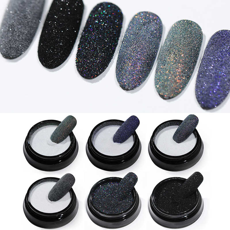สีดำเล็บ Holographic Glitter เล็บผงฝุ่นเลเซอร์ Gradient เล็บเล็บ Holographic Glitter ตกแต่งเล็บ