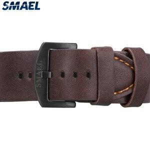 Image 2 - SMAEL Sport Watch Men Waterproof 2019 Top Brand Quartz Men Watch Leather Strap Brown Military Army Wristwatch Male Clock 9074