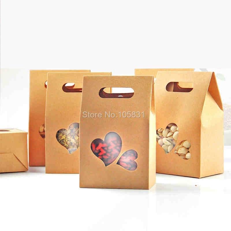 50X boîte de papier kraft écologique 10*15.5cm + 6cm avec fenêtre coeur tenez les faveurs de mariage de poche de nourriture peuvent personnaliser l'impression de logo