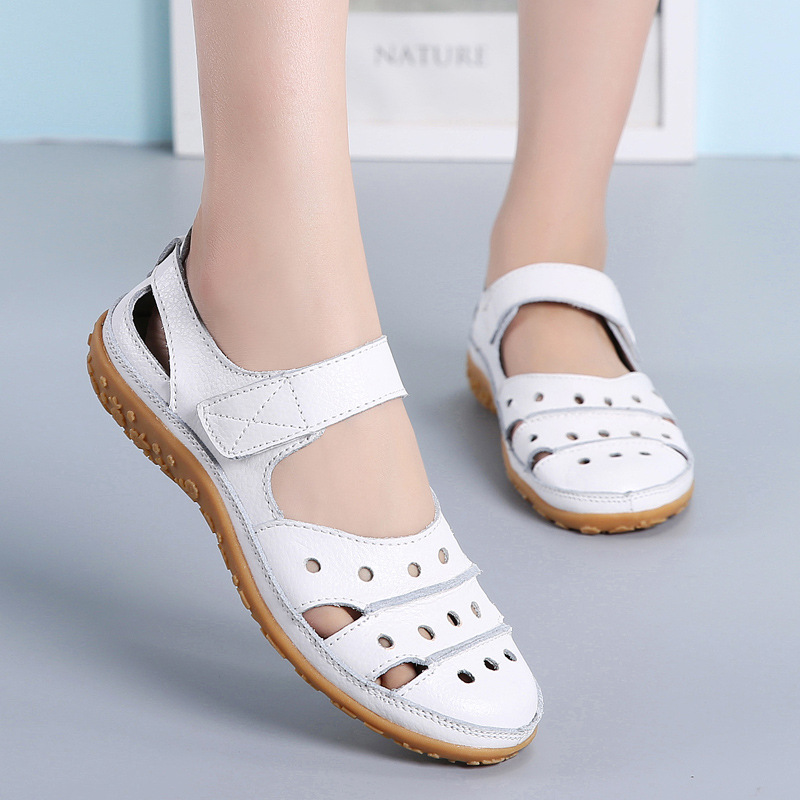 Image 2 - DONGNANFENG Mother Womens Female Ladies Genuine Leather White Shoes Sandals Hook Loop Summer Cool Beach Hollow Soft LLX 9566Womens Sandals   -