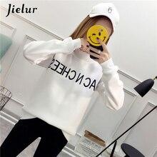 Jielur Hipster Embroidery Hoodie Women Kpop Solid Color Sweatshirt Harajuku Long Sleeve Hoodies Slim Black White 2019 New M-XXL