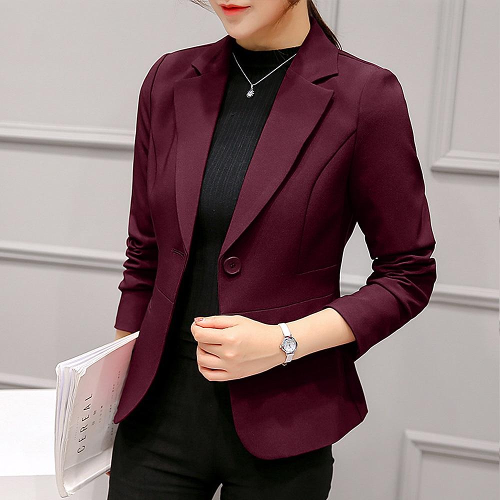 2020 Blazer Feminino Women Blazer Formal Blazers Lady Office Work Suit Pockets Women's Jacket Wine Red Slim Blazers S-2XL