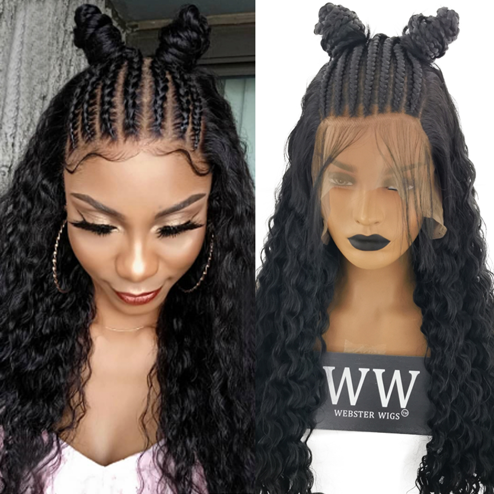 FANXITON Synthetic Lace Front Braided Wigs High Temperature Heat Resistant Fiber Loose Wave Braids Wigs For Women