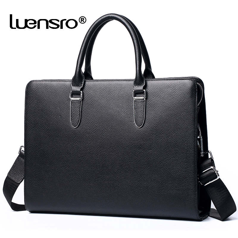 Multiple Compartment Men's Briefcase Genuine Leather Business Handbag Men Laptop Briefcase Leather Shoulder Bags Office Work Bag