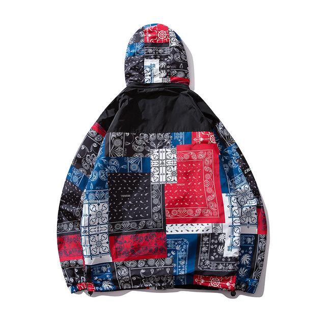 2019 Men Hip Hop Jackets Windbreaker Patchwork Floral Coat Streetwear Autumn 2019 Casual Color Block Track Hoodie Coats HZ252
