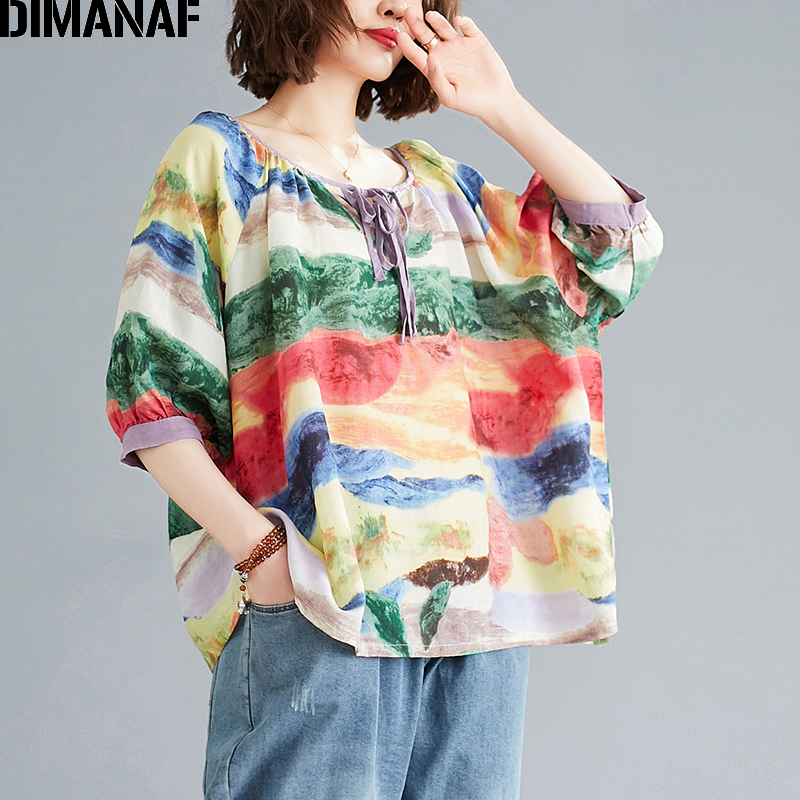 DIMANAF Plus Size Women Blouse Shirts Cotton Summer Beach Style Casual Colourful Print Lady Tops Tunic Oversize Female Clothing