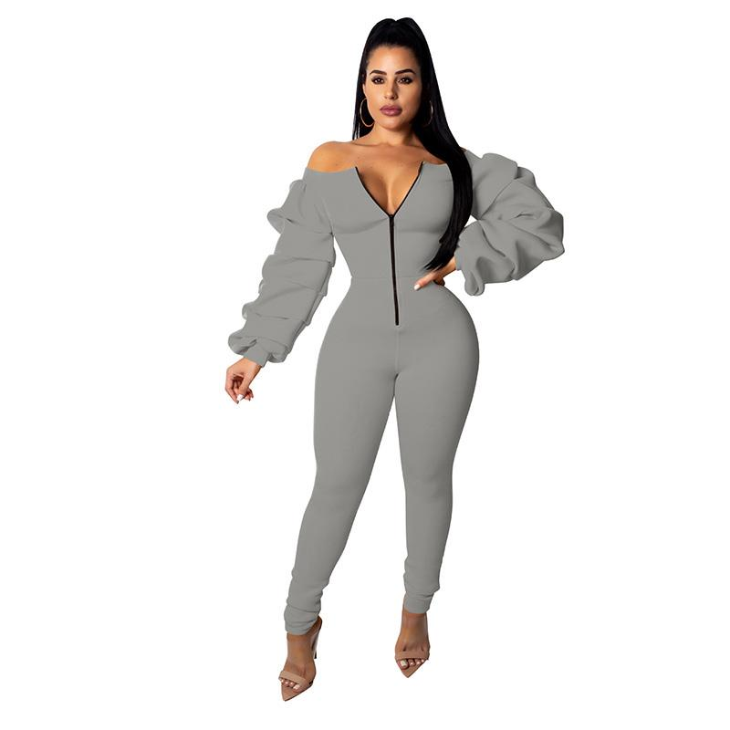 Women Skinny Long Sleeve Cotton Zippers Sexy Jumpsuit Bodysuit Sexy  Club Solid Slash Neck Party Rompers