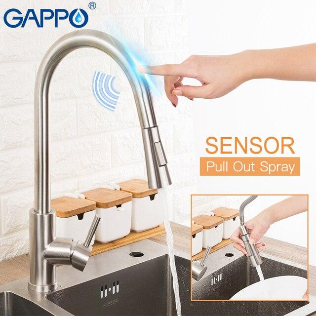 GAPPO נירוסטה מגע שליטה מטבח ברזי חכם חיישן מטבח מיקסר מגע ברז למטבח לשלוף כיור ברזים