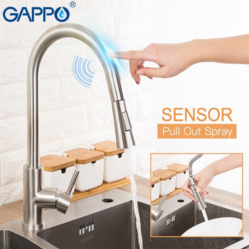 Gappo controle de toque de aço inoxidável torneiras cozinha sensor inteligente misturador da cozinha toque torneira para cozinha puxar para fora pia torneiras