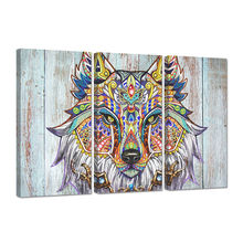 3 pcs canvas posters and prints bedroom wolf wearing fine headdress