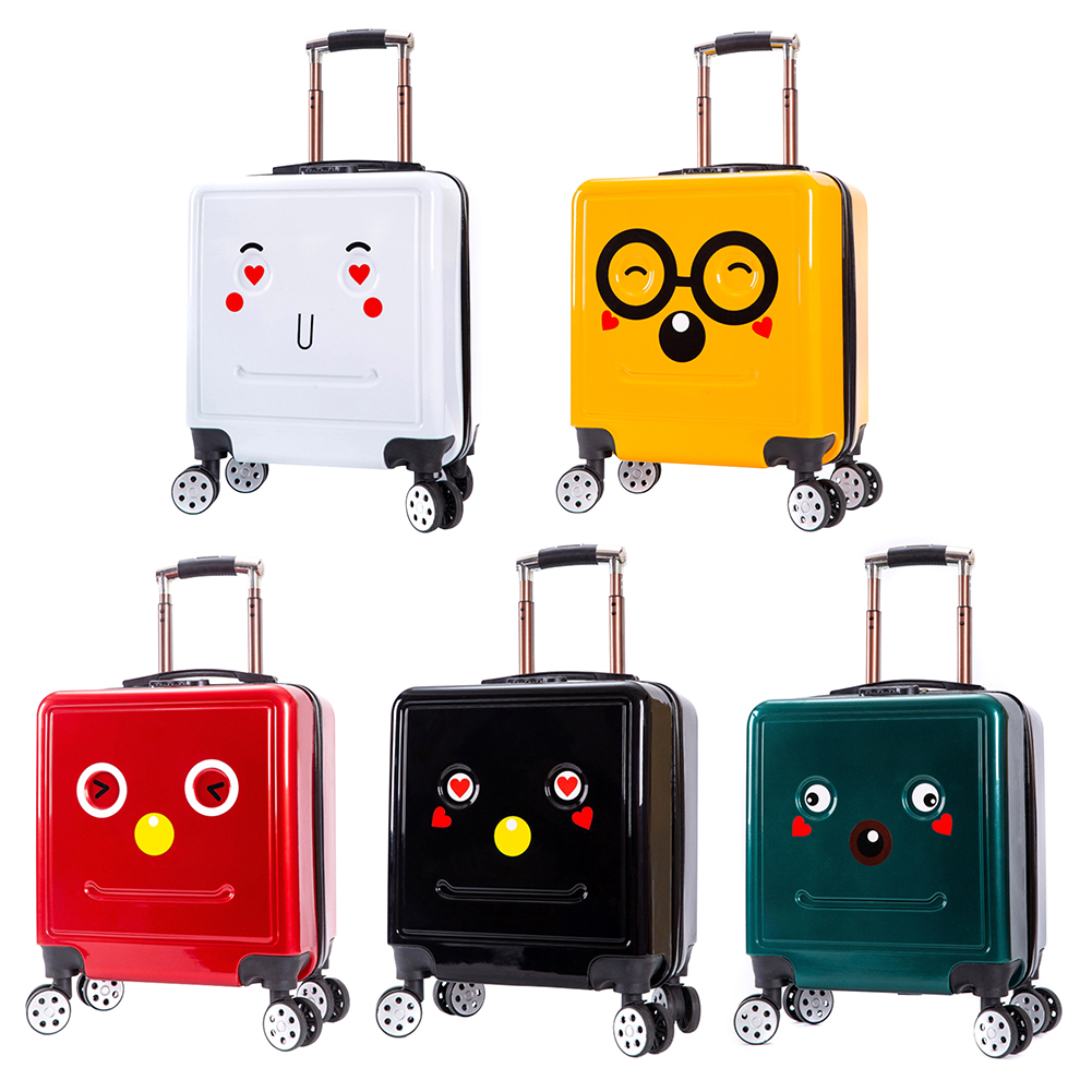 20 inch Cute Cartoon Robot Suitcases Luggage Bags Rolling Wheels DIY Smiling Face Suitcase Children Kids Student Travel Casual T