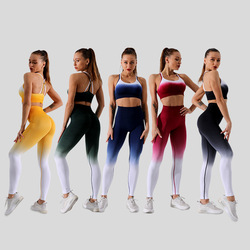Gym 2 Piece Set Seamless Ombre Women Gym Tight Sports Bra +Leggings Set Clothes Workout Fitness Sportswear Fitness Sports Suit
