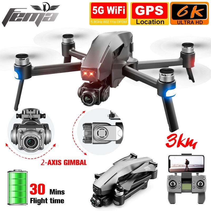 5g wifi fpv brushless 28mins auto estabilização quadcopter dron 3km profissional dos zangões 6k 4k gps da câmera do cardan