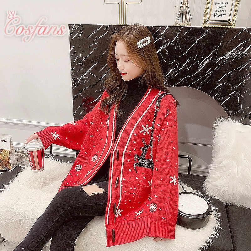 크리스마스 코트 스웨터 코트 카디건 여성 느슨한 두꺼운 게으른 바람 긴 소매 봄 스웨터 가을, 겨울 여성 크리스마스