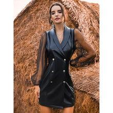 Melhor vendas sexy vestidos femininos malha retalhos plutônio lapela pescoço ruff manga dupla breasted bodycon mini vestidos para festa noturna