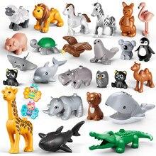 Novo tamanho grande animais zoológico fazenda bonito leão crocodilo hipopótamo koala flamingo selo borboleta golfinho acessórios brinquedos para crianças
