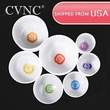 CVNC  6 - 12 Chakra tuned set of 7pcs Frosted Quartz Crystal Singing Bowls