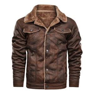 Image 1 - Куртка мужская с отложным воротником, осенне зимняя повседневная модная свободная кожаная куртка, 2020
